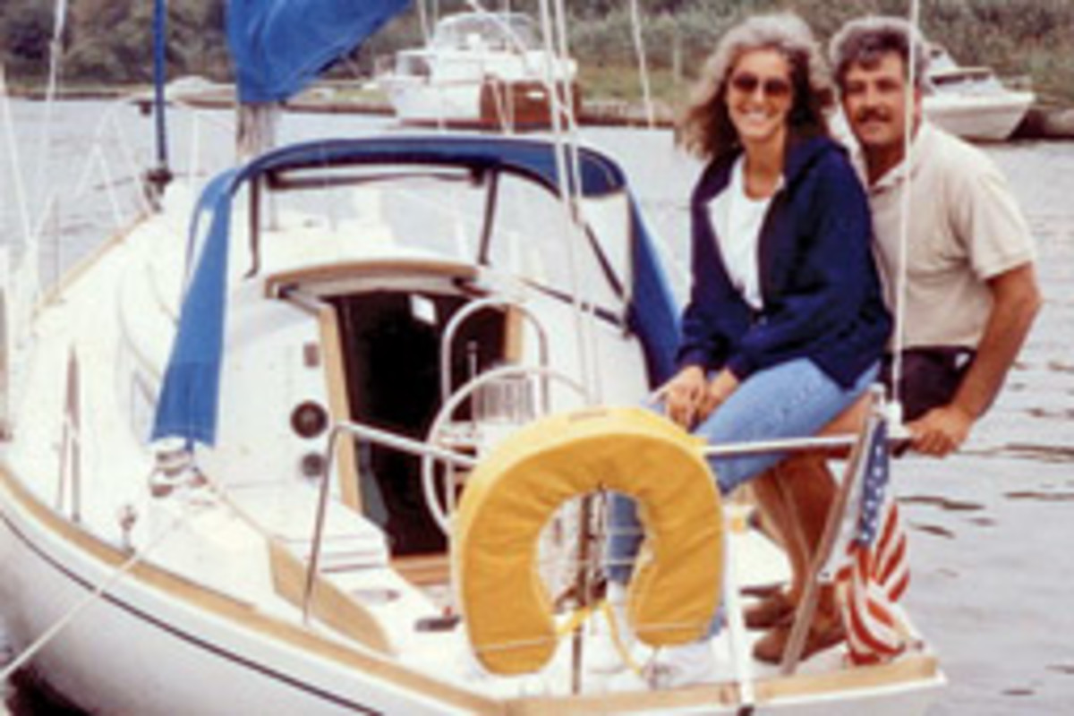 Quieter times aboard Nyala with his wife, Deirde, in 1995.