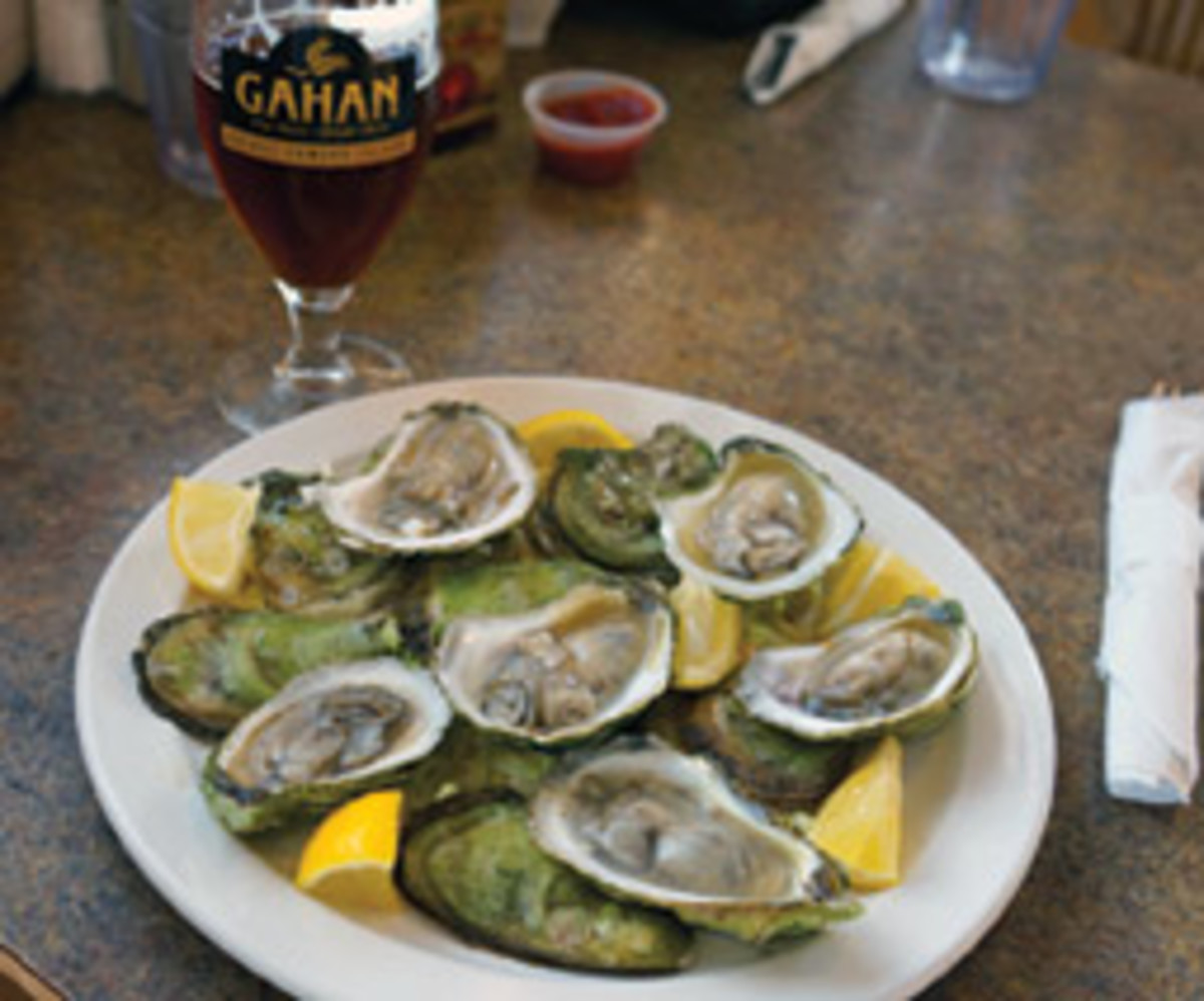 Colville oysters with a local brew