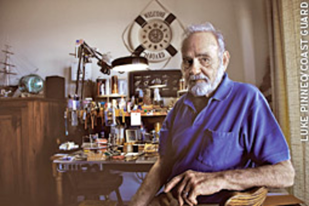 Maurice Poulin, 85, is a retired Coast Guard World War II veteran and keeps his love for the sea alive by building ships in bottles. One of his models was recently selected for display by the Smithsonian Institution museum in Washington, D.C.