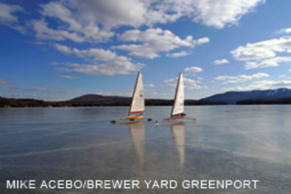 Members of the Orient Ice Yacht Club take to the frozen waters.