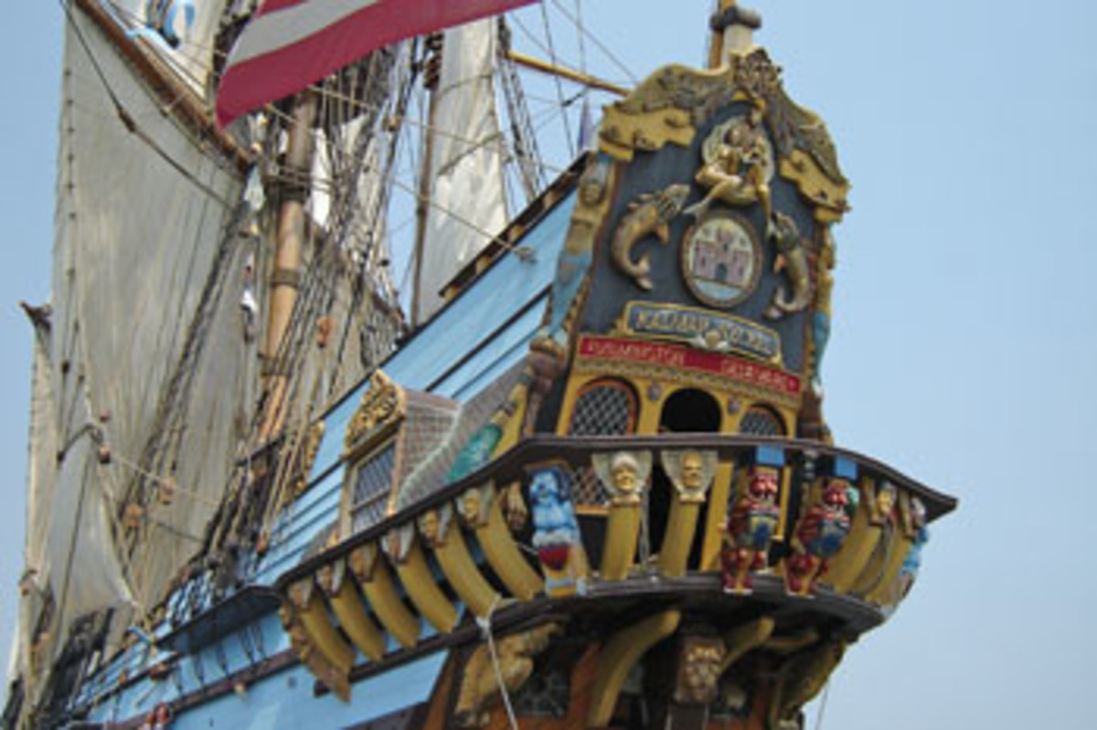Ornate carvings adorn the ship's unique stern.
