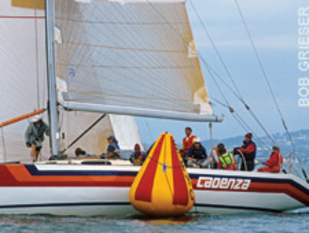 Eichenlaub at the helm of Cadenza, a Nelson Marek 45, during the Big Boat Series in San Francisco, one of his favorite regattas.