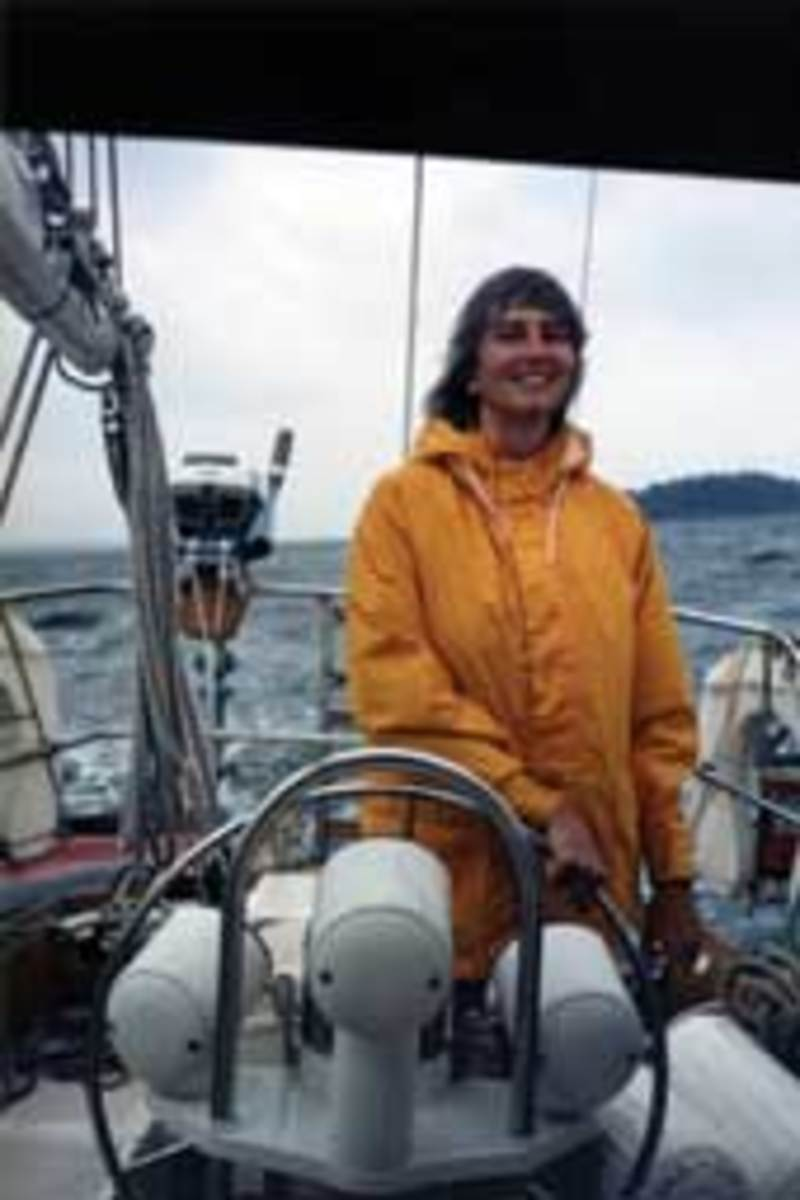 Aboard the chartered Cape Dory 36 Horizon Bound, around 1989.