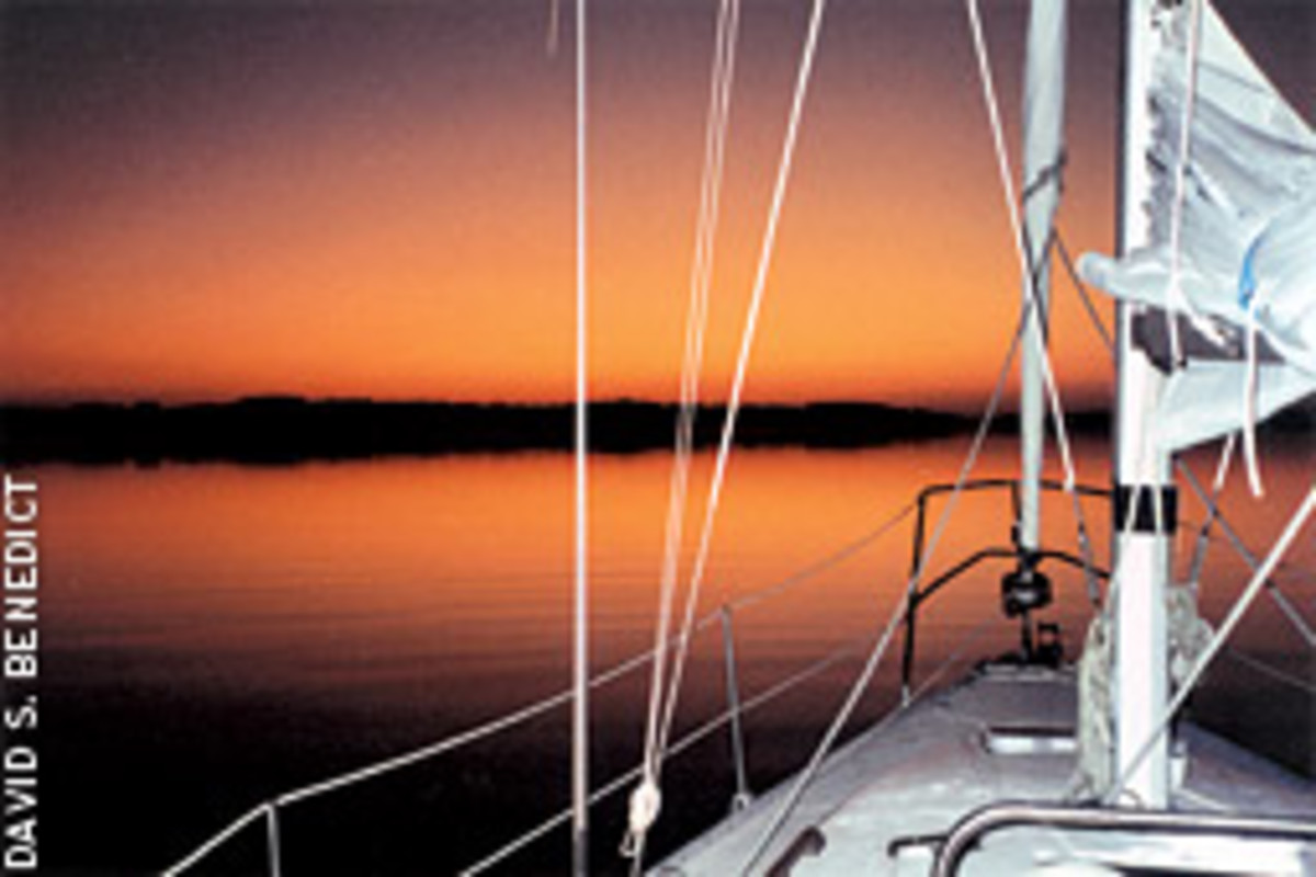 Caper II had the best view on the Occohannock when the sun went down in spectacular style.