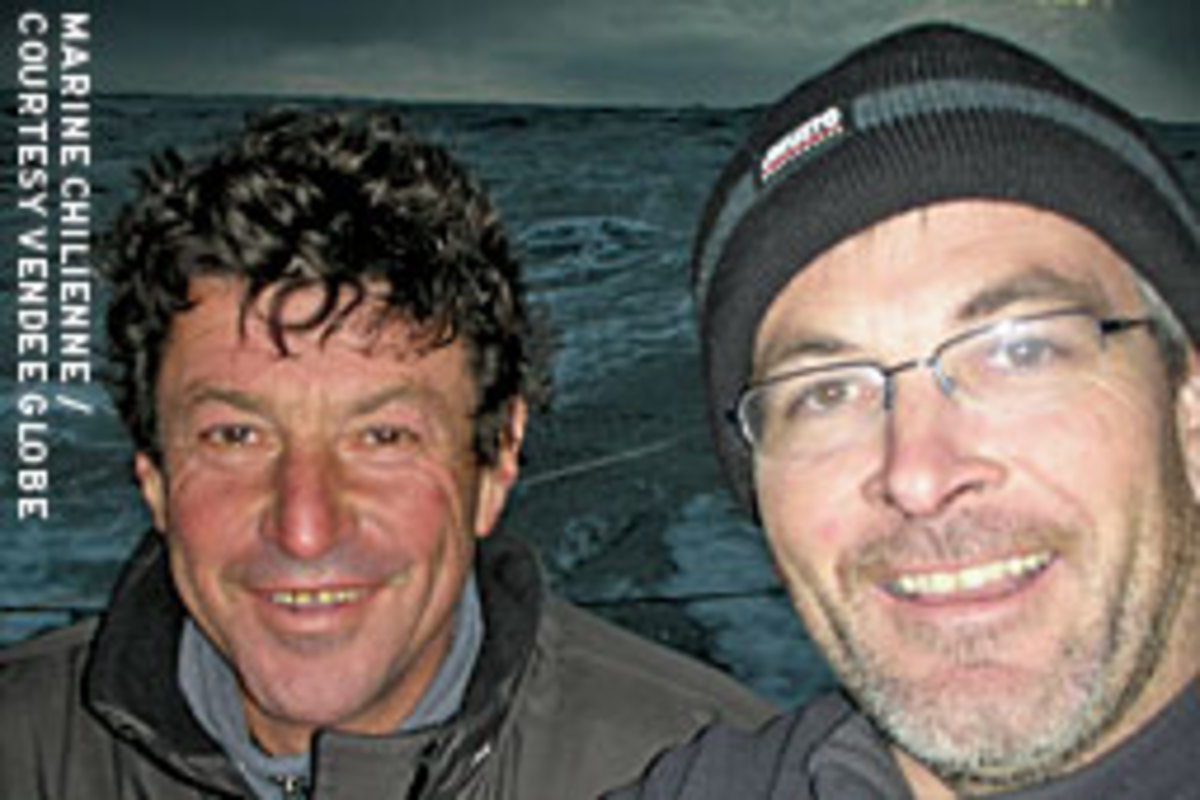 Vincent Riou (right) on PRB executed a daring rescue of Le Cam before he was forced to put in at Cape Horn to repair an outrigger.