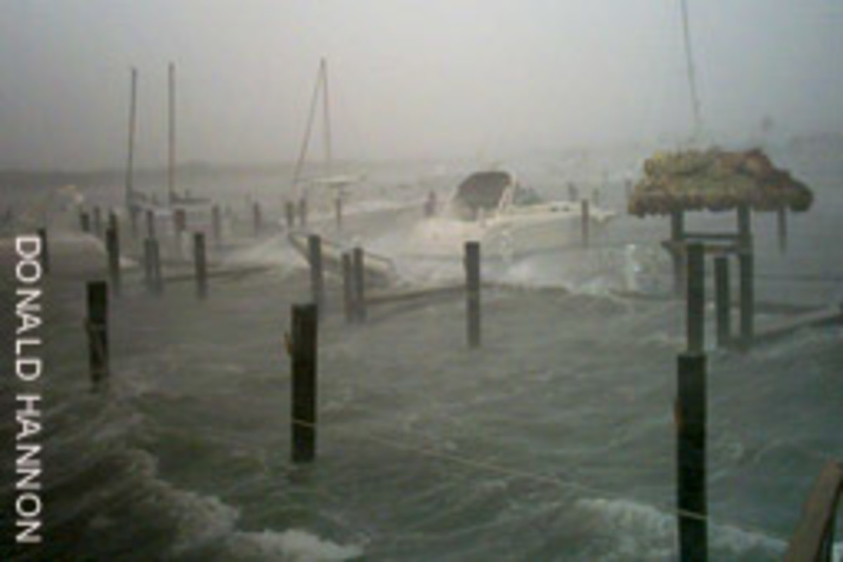 Docks are engulfed by storm surge at Blowing Rocks Marina in Tequesta, Fla., near where Hurricane Frances made landfall.