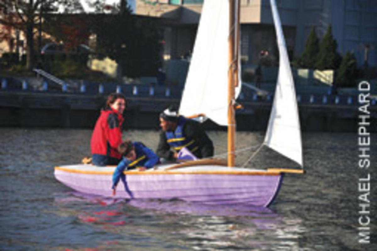 Enjoying a sail aboard Purple Lady, the first Factory One Design built by PWBF students.