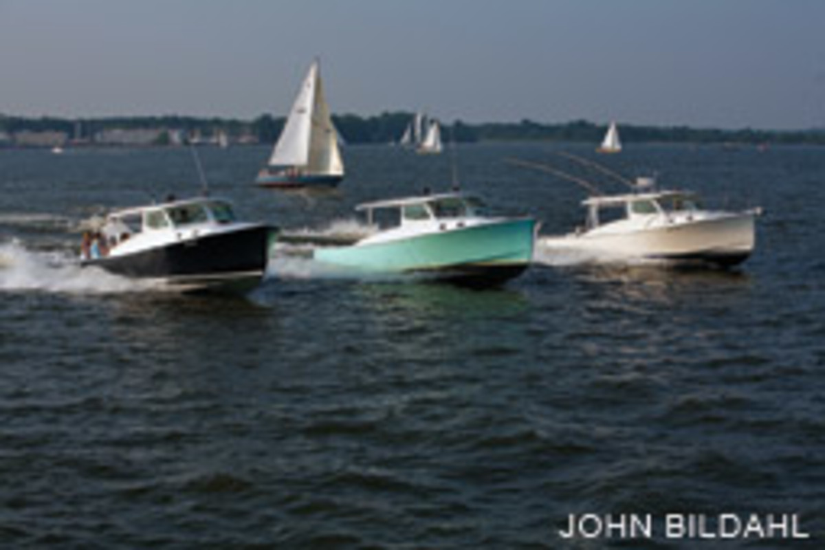 A trio of Eastport 32s strut their stull off Annapolis, Maryland. Mathews Bros. now builds this model.