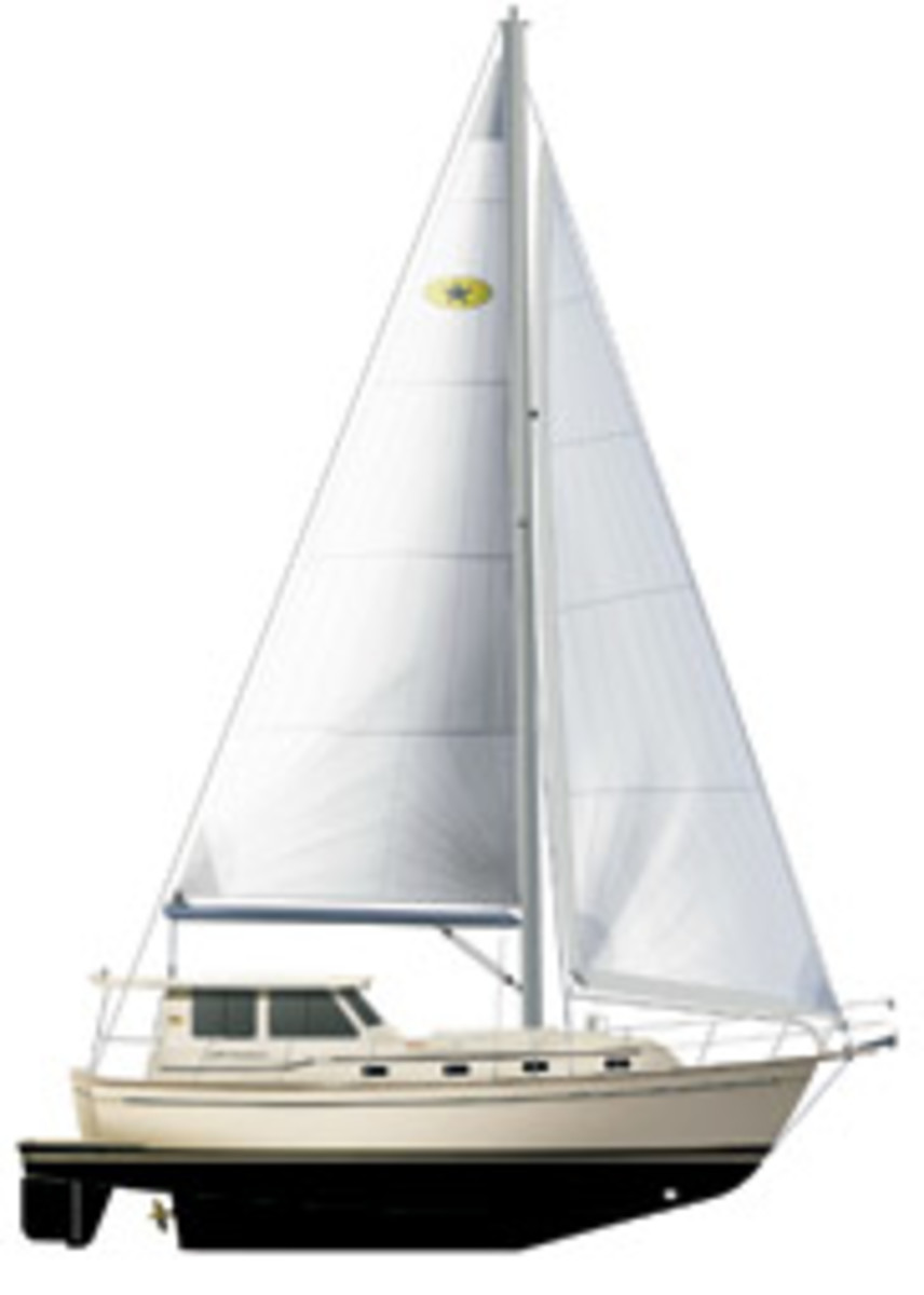 Island Packet's SP Cruiser has fore and aft cockpits and pushbutton sail controls.