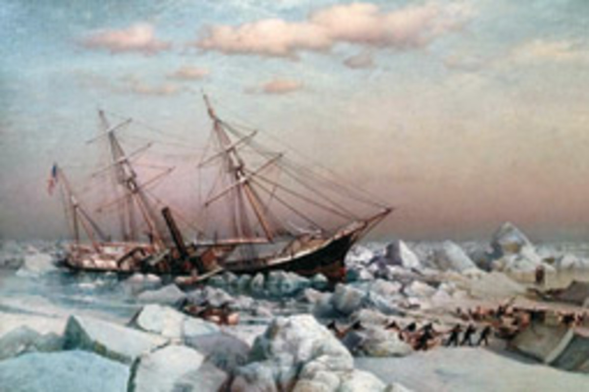 The Jeannette's abandonment depicted by maritime painter James Gale Tyler
