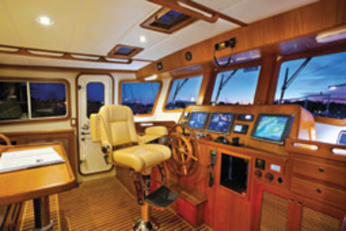 Electronic displays should be intuitively placed and angled toward the skipper's head.