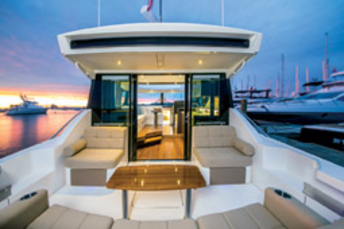 A clear view from the helm to the stern is a big help when backing into a slip.