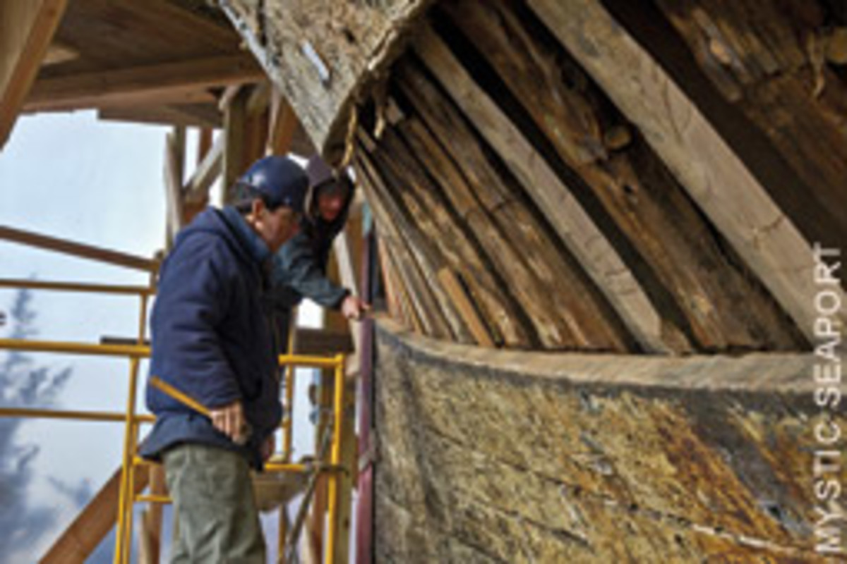 The Henry B. DuPont Preservation Shipyard at Mystic Seaport did a five-year restoration of the Morgan that employed dozens of shipwrights.