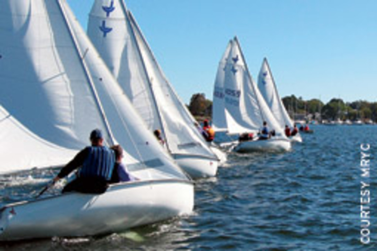 A light southwesterly helped sailors in the Mystic River Yacht Club's Frostbite Regatta 6 take advantage of an 'open playground.'
