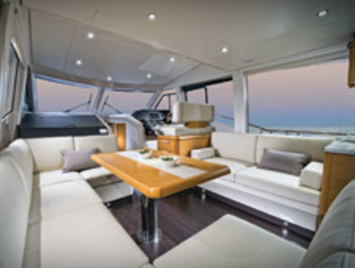 The interior of the Greenline 48, built in Slovenia, reflects a European sensibility.