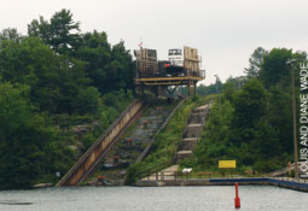 The Trent-Severn Waterway's 'Big Chute' transports boats up and over a steep ridge on a railroad car cradle.