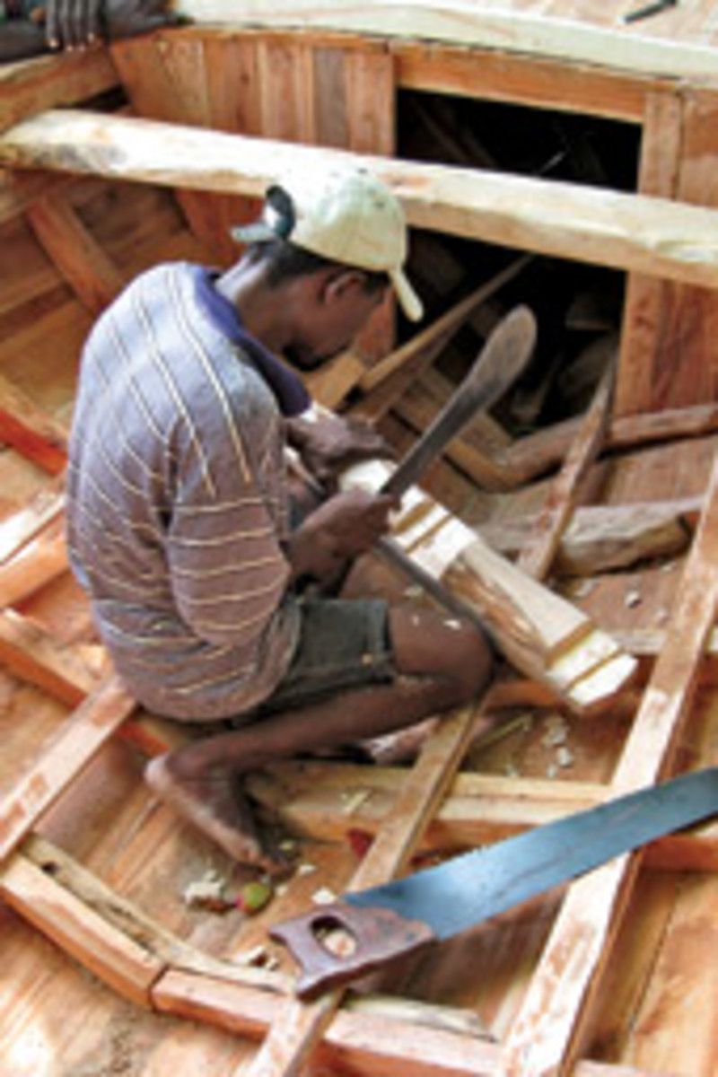 ISLAND BOATBUILDING: With no electricity on Ile a Vache, Jean Oblit Laguerre built Sipriz in three months using hand tools. Van der Kolk says the sloop's design is 'smart and solid,' and he had complete faith in its seaworthiness.