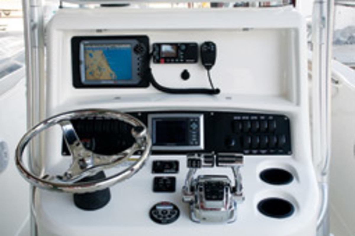 The helm stations on smaller center consoles have to accomplish a lot in a relatively tight space.