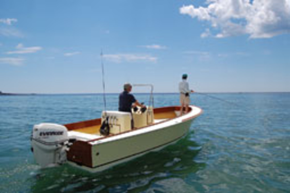 The Flyfisher 22, built by students in The Landing School's wood composite construction program, is a handsome semidisplacement boat.