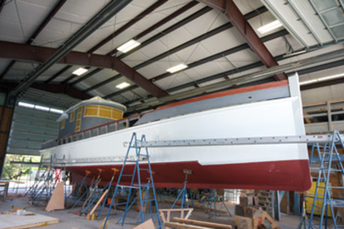 Mr. Jim, a replica buyboat built by Jim Richardson in 1980, is being refitted for a new life in the Bahamas as a cruising and freight boat.