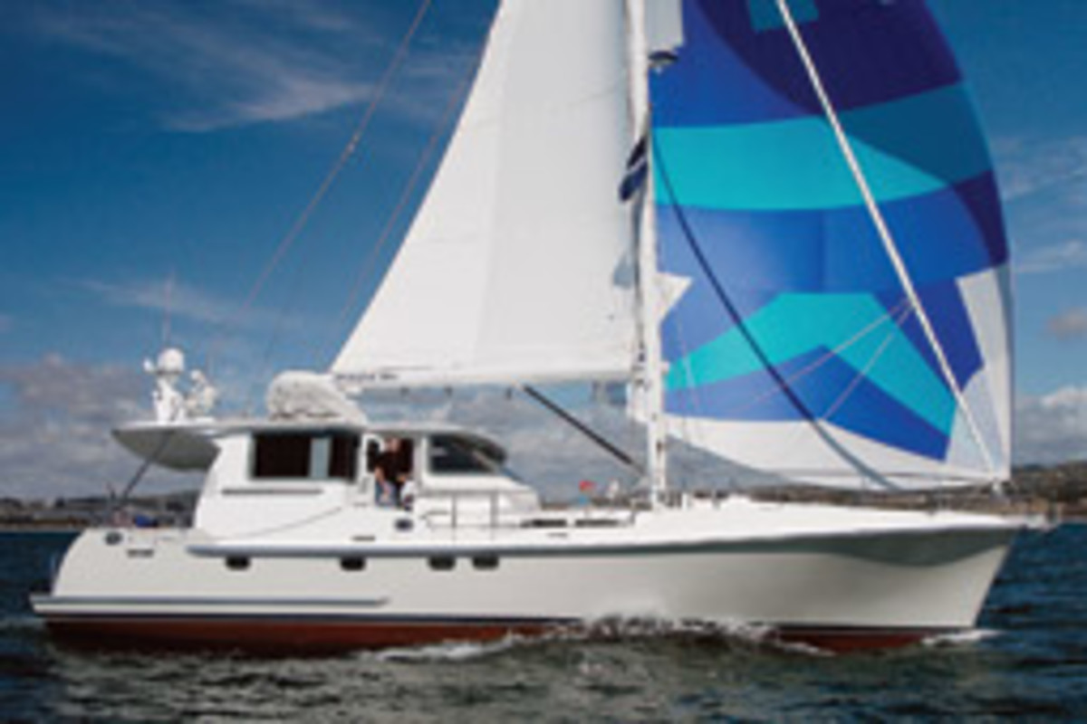The Nordhavn 56 MS logged 15 knots downwind and 6 knots over ground on its shakedown sail.