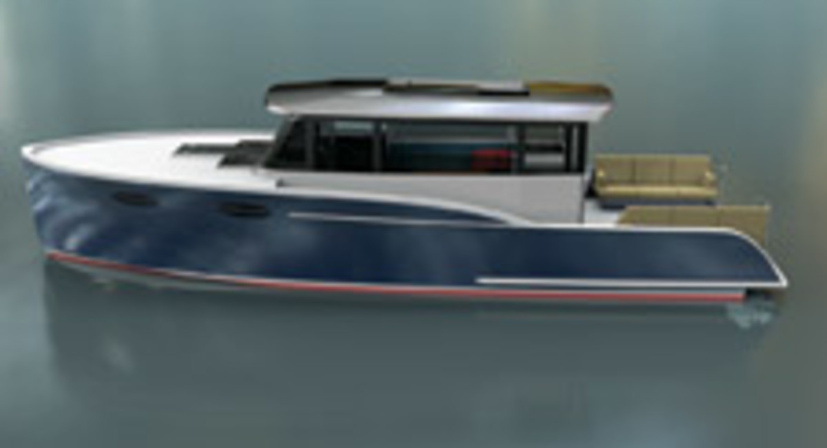 Stephens Waring Yacht Desiggn refers to the 40-foot Paradigm as a sport utility vessel with an emphasis on connection to the water.