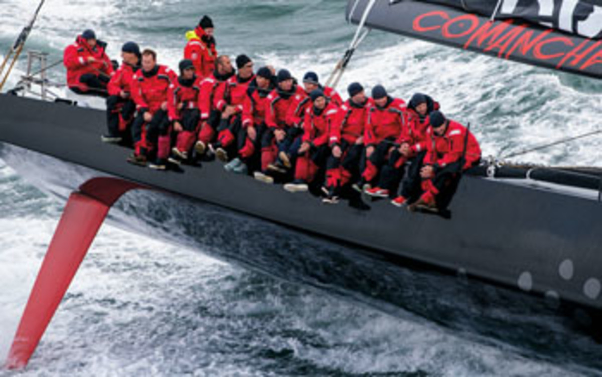 It takes a crew of 20 to sail Comanche.