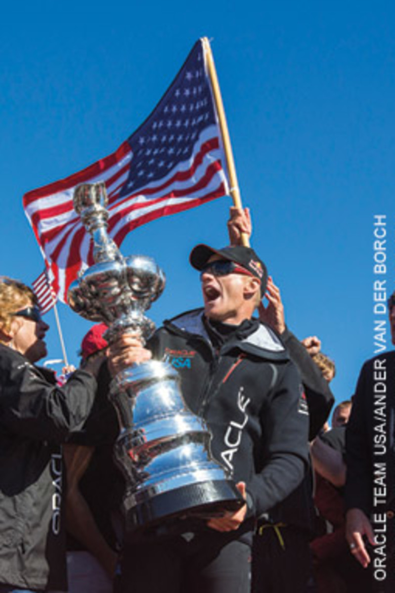 Oracle skipper Jimmy Spithill with the hard-won prize.