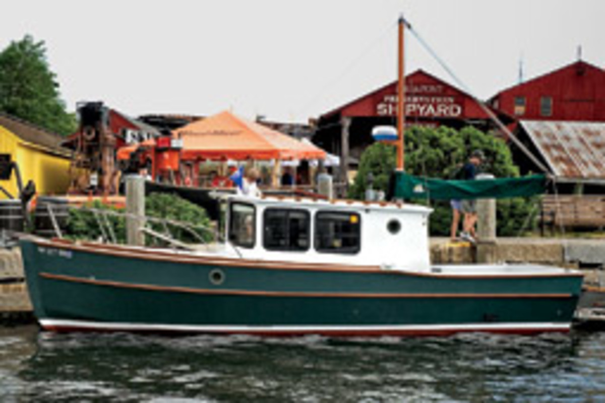 Alsek, a 26-foot 'Surf Scooter' pilothouse cruiser, was built by Peter Poanessa of Keene, N.H., based on a design by Sam Devlin of Devlin Designing Boat Builders, Olympia, Wash.