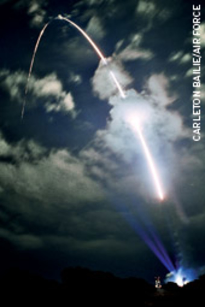 A Delta II launch vehicle carries a Global Positioning System satellite into orbit.
