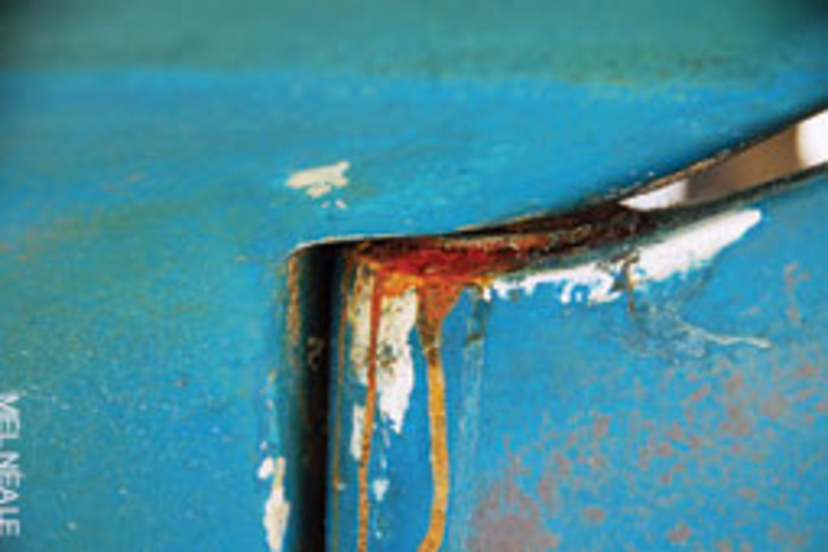 Rust streaks down any part of the underbody are a telltale sign of problems.