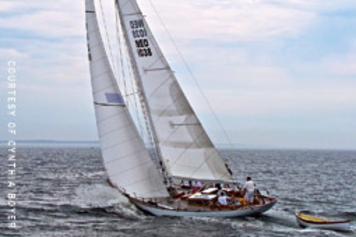 Zwerver leads the fleet in the Castine Classic Race.