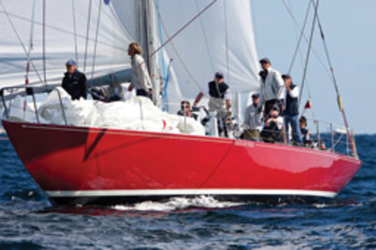 Charlie Millikin and Carol Swift, of the NYYC-hosted 12 Metre Worlds, on American Eagle-US21 won in an upset in the Traditional Division.