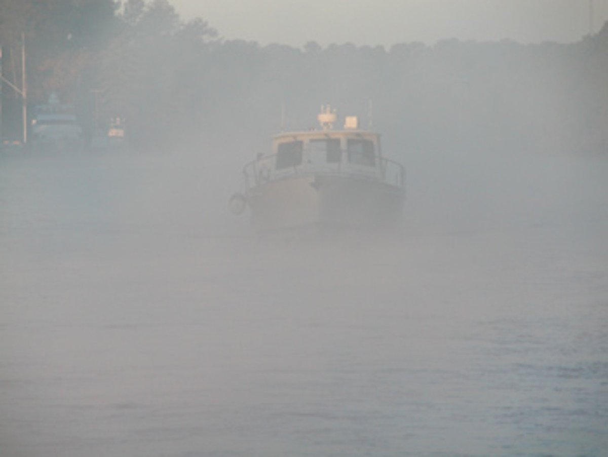 A skipper's senses and reflexes may be tested when vessels and objects emerge suddenly from a bank of fog.