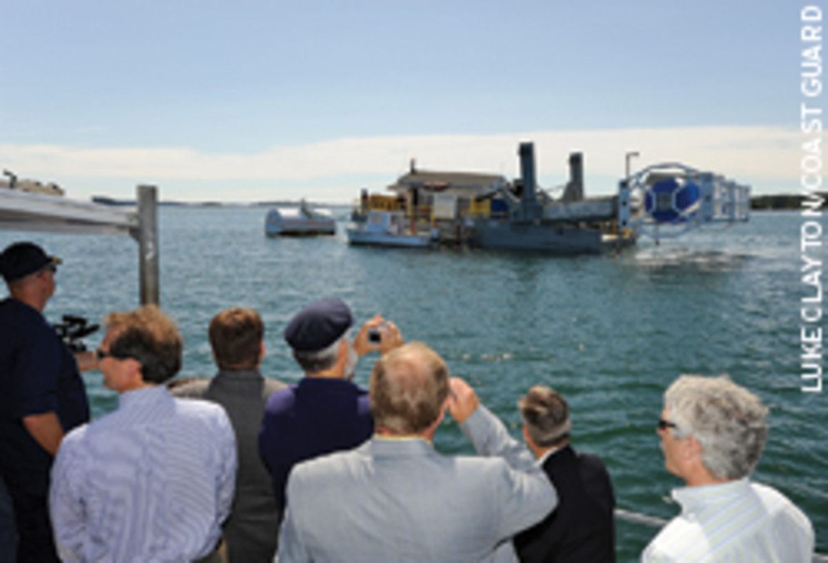 A 60-kW turbine (shown here out on the water) has been producing renewable energy from tides.