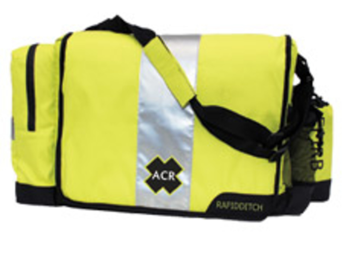 A well-planned ditch bag, like this one from ACR, is imperative if you have to abandon a burning boat quickly.
