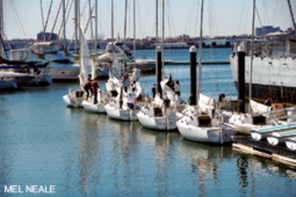College of Charleston's sailing fleet is berthed at Charleston Harbor Resort and Marina, adjacent to the docks of Patriots Point.