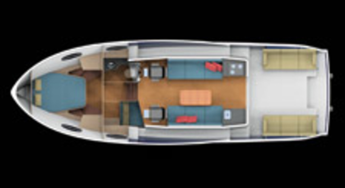 Paradigm's layout promotes a social atmosphere by placing the cockpit and pilothouse on a single level.