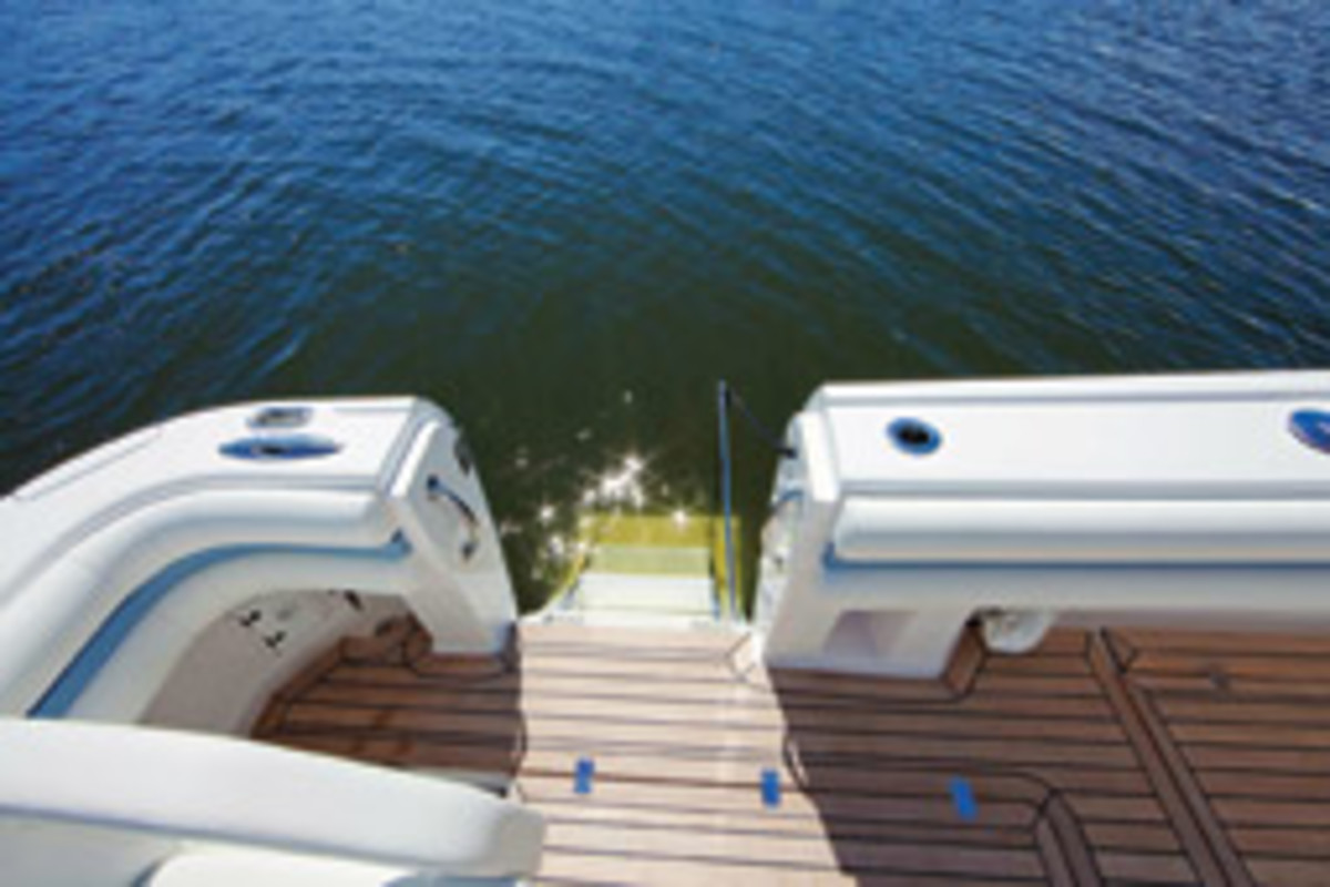 Intrepid is known for its innovative deck features, such as this dive door with steps and handrails.