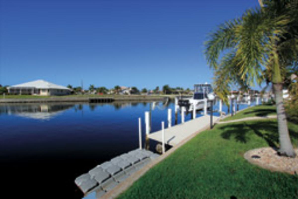 The Punta Gorda house has a floating dock and a portable davit.