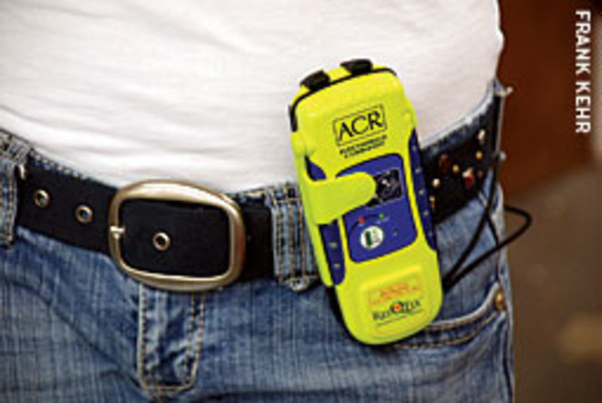 The ACR ResQFix PLB has a 16-channel GPS to transmit the wearer's position, along with their personalized identifier code.