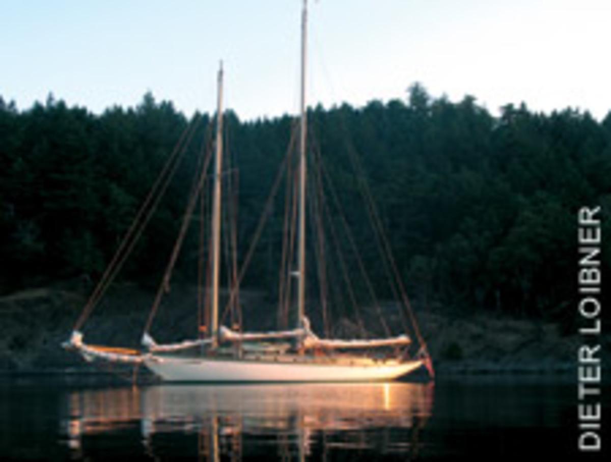 The crew aboard the schooner Martha anchored in Prevost Harbor on Stuart Island.