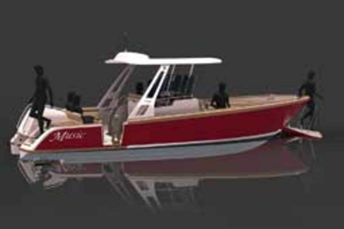 Mark Fitzgerald is pushing the design envelope with his F-28, which includes a hydraulic ramp that creates a walkway from boat to beach.