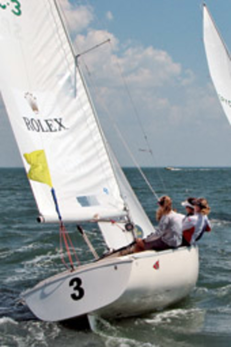 Genny Tulloch (3 on stern) went on to win in the Rolex Women's Match, with Rhode Island crew Liz Hall, Jamie Haines and Chafee Emory.