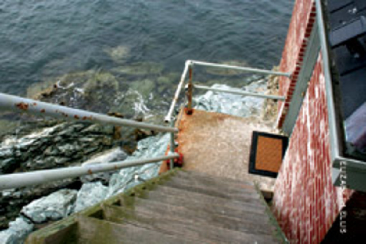 Visitors must be able to navigate some steep climbs, like these stairs to the foghorn building.