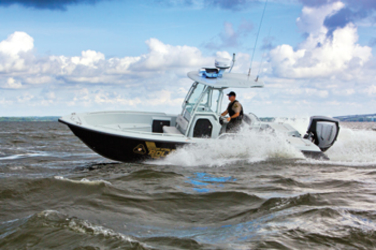 The Everglades 243cc is the new patrol boat of the Maryland Natural Resources Police.
