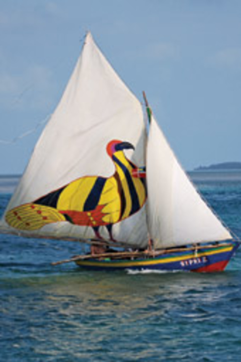 A giant Sankofa adorns Sipriz's mainsail in recognition of Haitian culture.