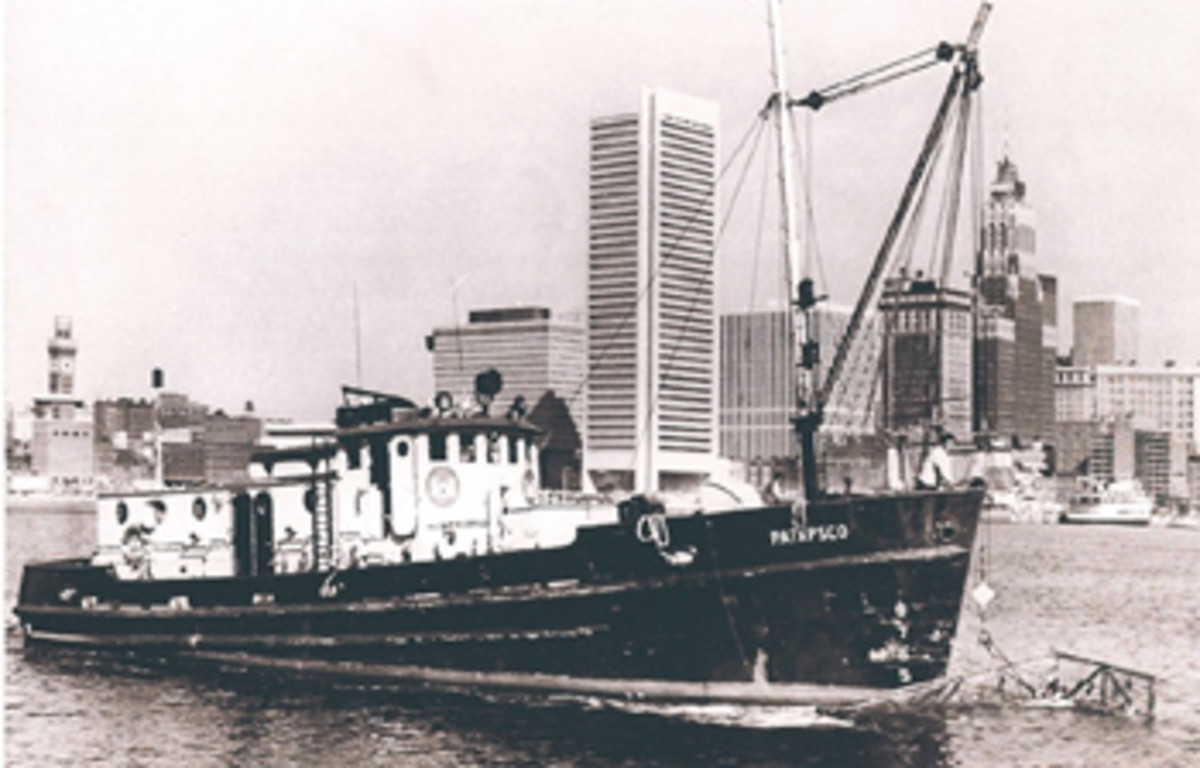 A shot of Patapsco from 1973, when she worked as a drift boat, cleaning up the Baltimore waterfront. The new owner has kept her historic character intact.