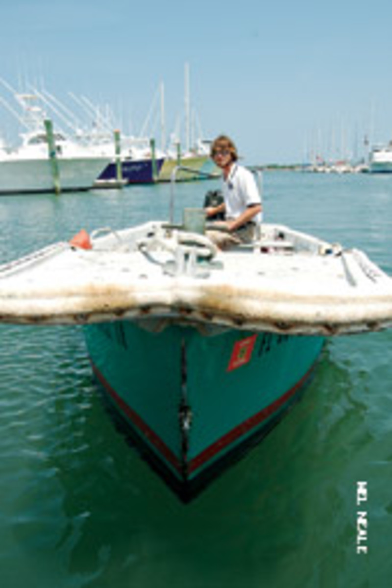 Casey the dockmaster at Camachee Cove Marina in St. Augustine, Fla., is ever ready to help boaters dock - Tom included.