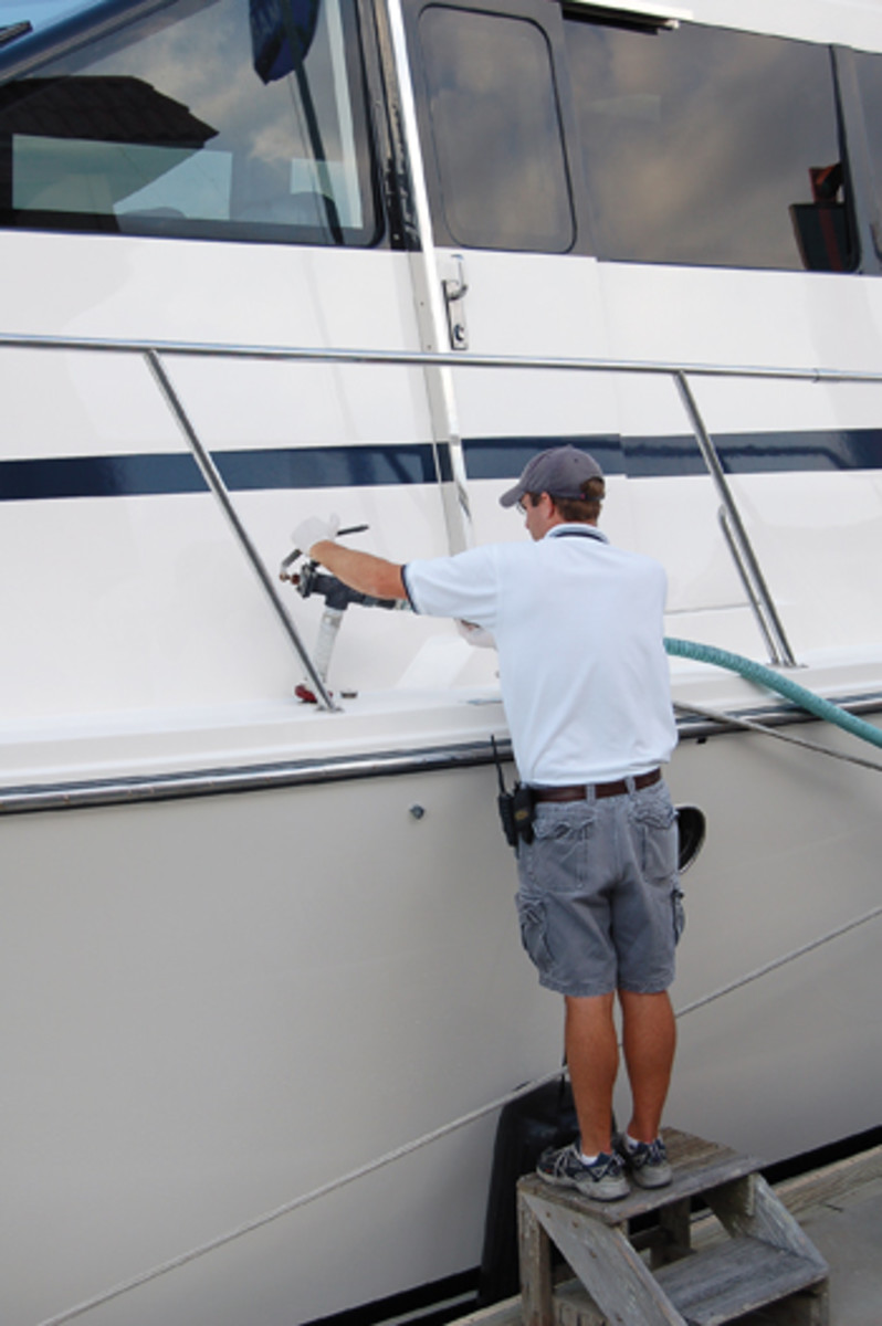 Is there really a polite way to hand the pumpout hose to the next boat in line?